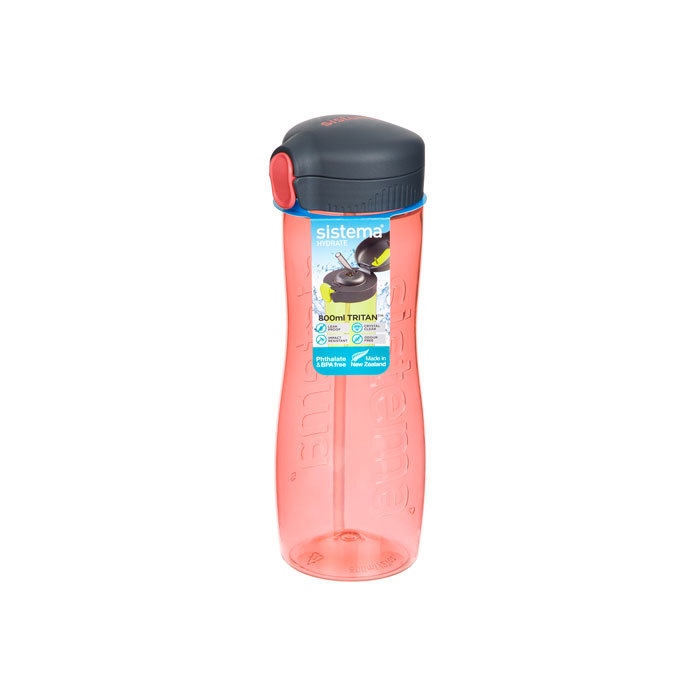 "Бутылка для воды с трубочкой Sistema ""Hydrate"", Тритан, 800 мл, цвет Красный"