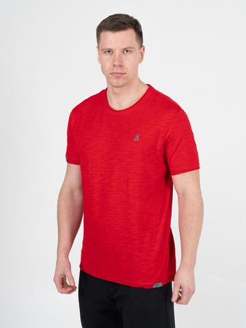 Мужская футболка «Великоросс» алого цвета круглый ворот