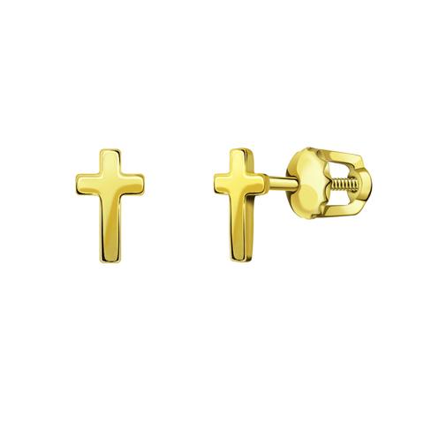 л20903- Серьги-пусеты из лимонного золота в форме маленьких крестиков