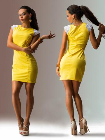 Летнее мини-платье с короткими рукавами, желтое