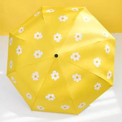 Женский облегченный зонт, с защитой от УФ, 8 спиц, принт- Ромашки (желтый)