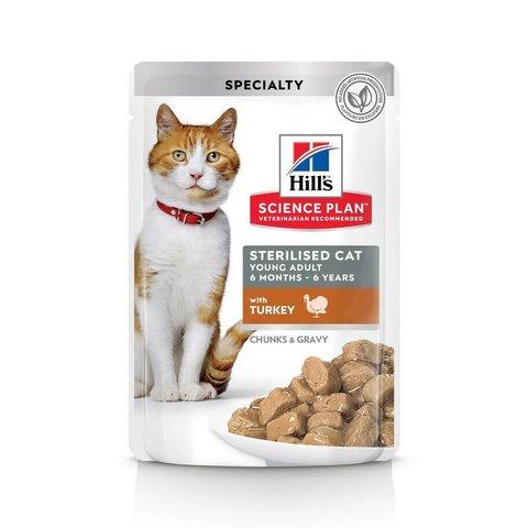 Влажный корм Hill's Science Plan для молодых стерилизованных кошек и кастрированных котов, пауч с индейкой в соусе