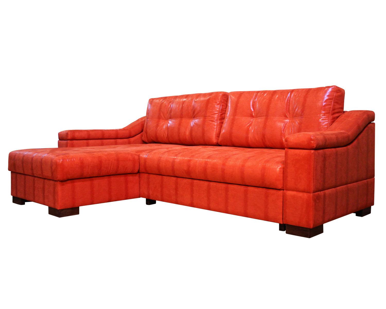 Угловой диван Макс П5 1я2д, обивка искусственная замша Нубук оранж HWS