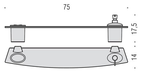 Полочка со стаканом и диспенсером75см. Colombo Land  B2815, хром схема