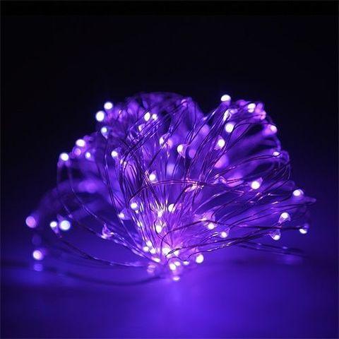 Гирлянда уличная на тонком проводе 100 LED фиолетовая