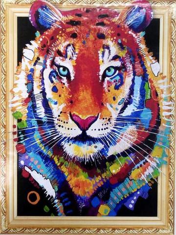 Алмазная Мозаика 5D 40x50 Тигр с цветными пятнами