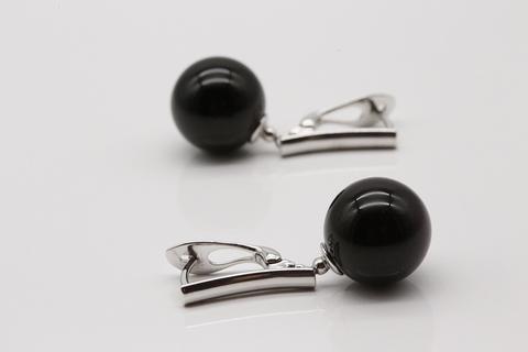 Серьги «Тайная сила» из серебра 925 с черным агатом