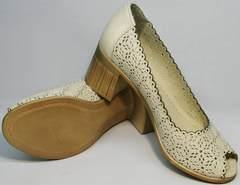 Женские модные туфли с перфорацией Sturdy Shoes 87-43 24 Lighte Beige.