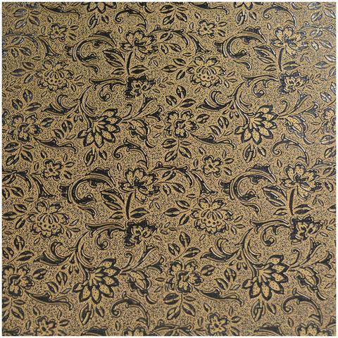 Стол КРОНОС 2 КОЖА Флора золото / стекло коричневое / каркас коричневый / колонна коричневая / 120(180)х80см