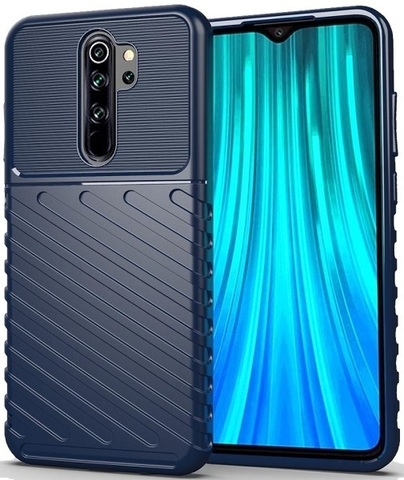 Чехол Carbon для Xiaomi Redmi Note 8 Pro серия Оникс | синий