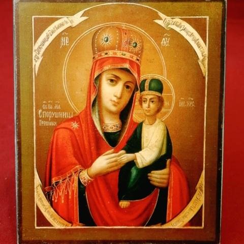 Икона Богородицы Споручница Грешных на дереве на левкасе мастерская Иконный Дом