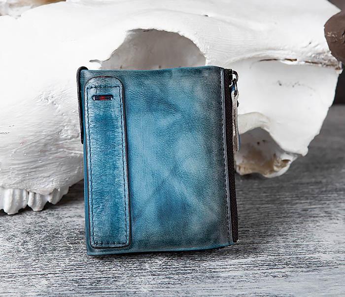 WL302-4 Мужске портмоне из натуральной кожи синего цвета