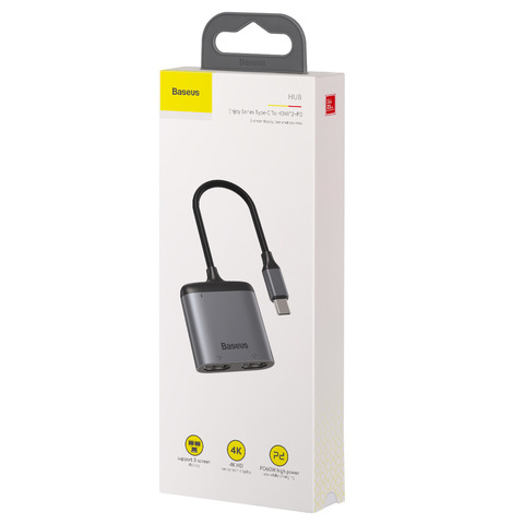 USB-концентратор Baseus Enjoy series Type-C to HDMI*2+PD HD intelligent HUB adapter Grey