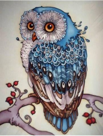 Алмазная Мозаика 5D 40x50 Голубая сова на ветке