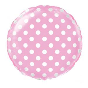 Фольгированный шар Горошек Розовый 18