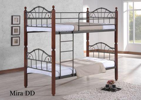 Двухъярусная кровать МИРА - DD металлическая с деревянными ножками 90х200 темный орех