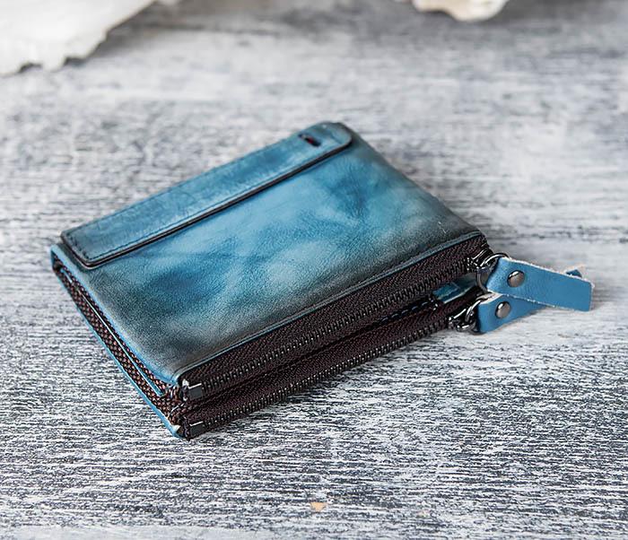 WL302-4 Мужске портмоне из натуральной кожи синего цвета фото 02
