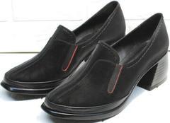 Черные туфли на широком каблуке 6 см весна осень H&G BEM 167 10B-Black.