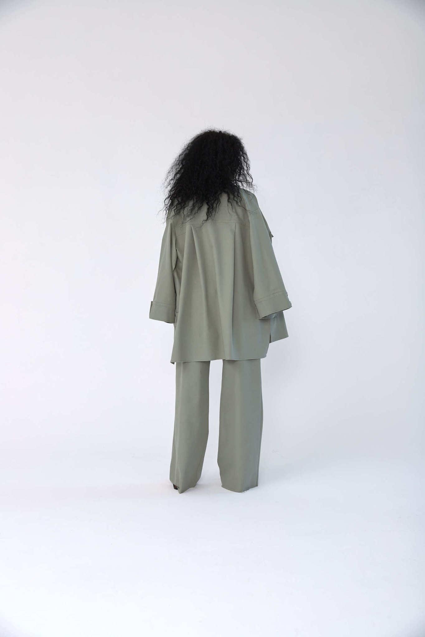 Куртка-рубашка на кнопках из денима, шалфей