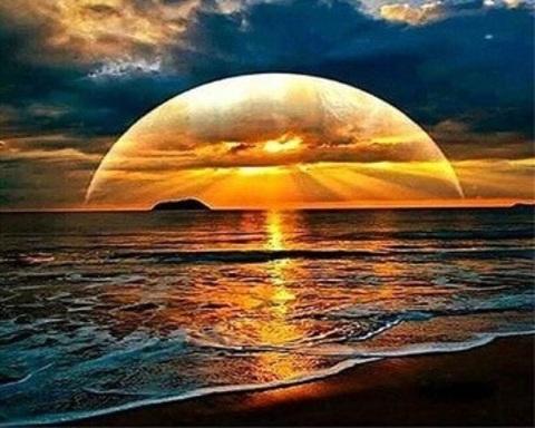 Алмазная Мозаика 40x50 Закат над океаном