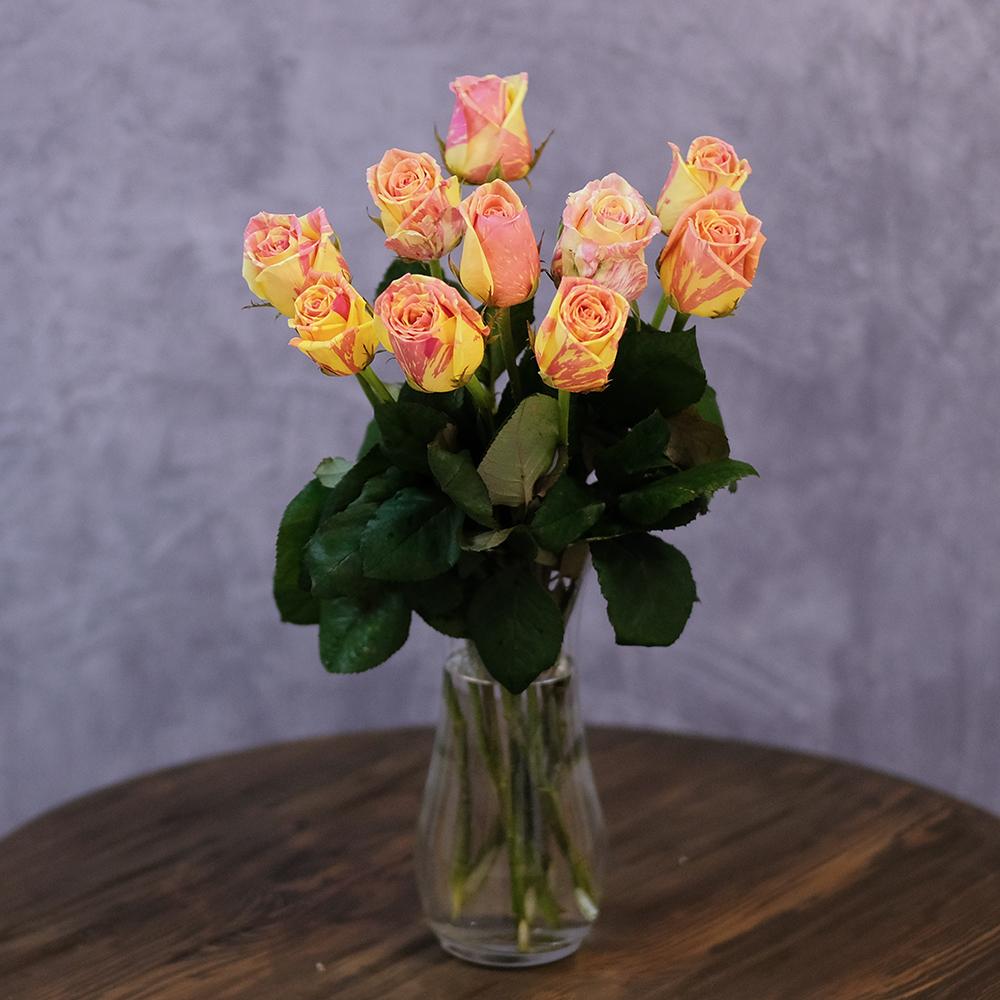 Купить нежные солнечные желто розовые розы Пермь заказ онлайн доставка по городу