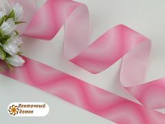 Лента репсовая Волны бело-розовые 25 мм
