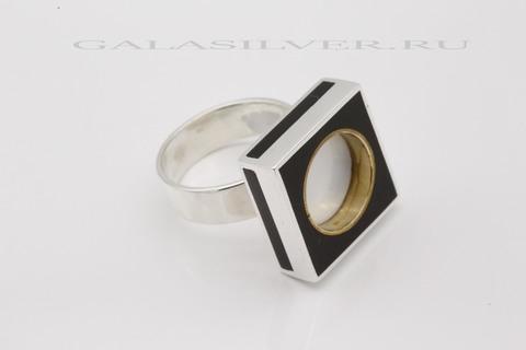 Кольцо с кахолонгом и эмалью из серебра 925