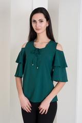 Одрі. Молодіжна блуза з воланами. Смарагд