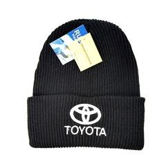 Вязаная шапка с вышитым логотипом Тойота (Toyota) черная фото 2
