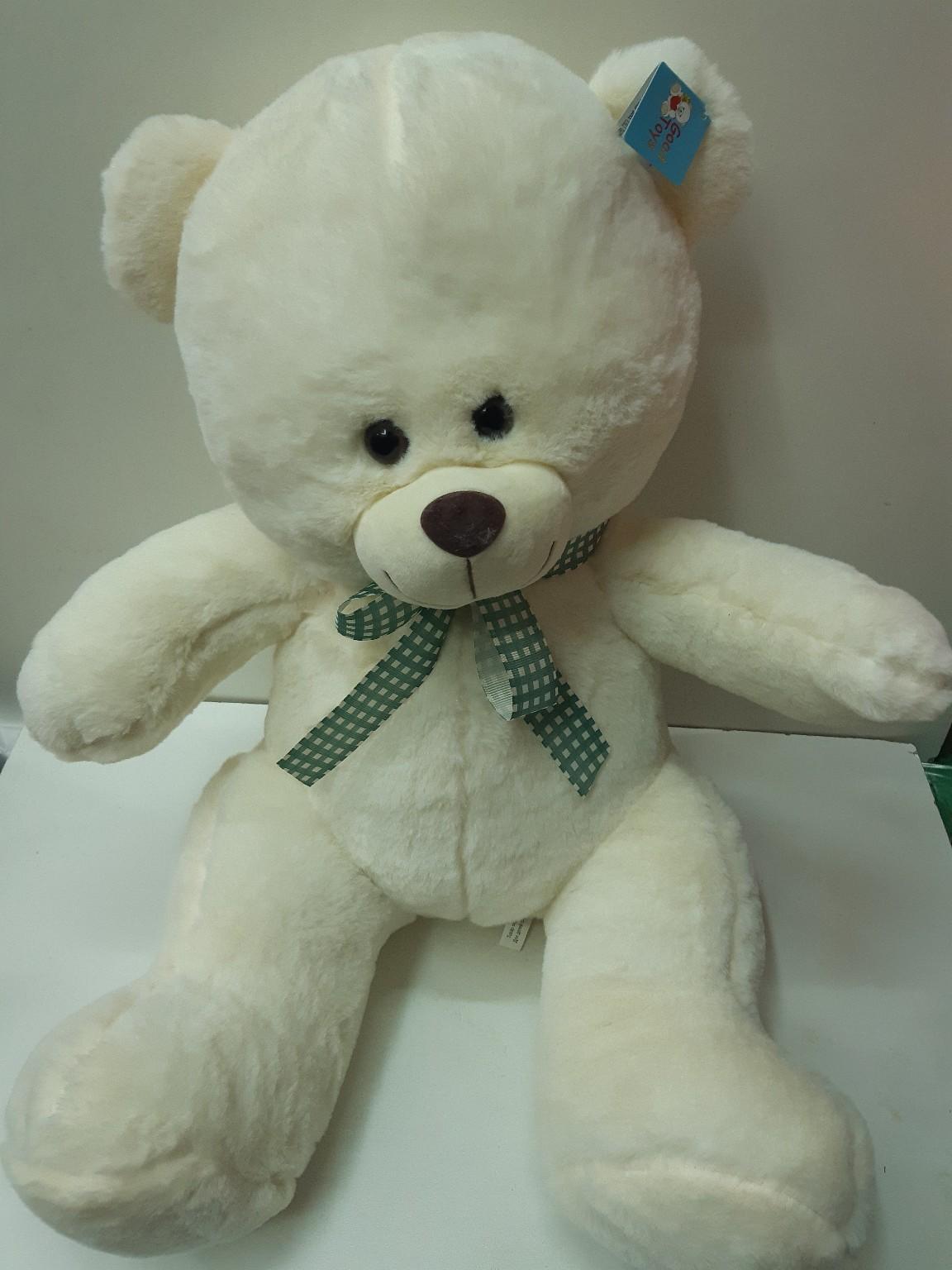 Мягкий медведь с ленточкой в трёх расцветках
