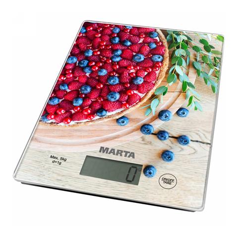 Весы кухонные сенсор MARTA MT-1634 ягодный пирог