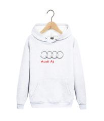 Толстовка белая с капюшоном (худи, кенгуру) и принтом Ауди A3 (Audi A3) 007
