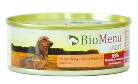 BioMenu LIGHT Консервы д/собак Индейка с коричневым рисом 93%-МЯСО 100гр*24