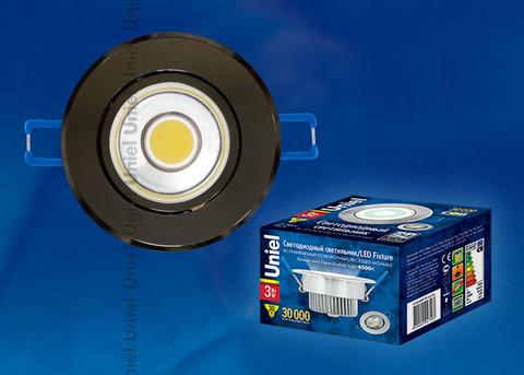 ULM-R31-3W/NW IP20 BLACK CHROME картон Светильник светодиодный встраиваемый поворотный, 110-240В. Материал корпуса алюминий, цвет черный хром. Белый свет.