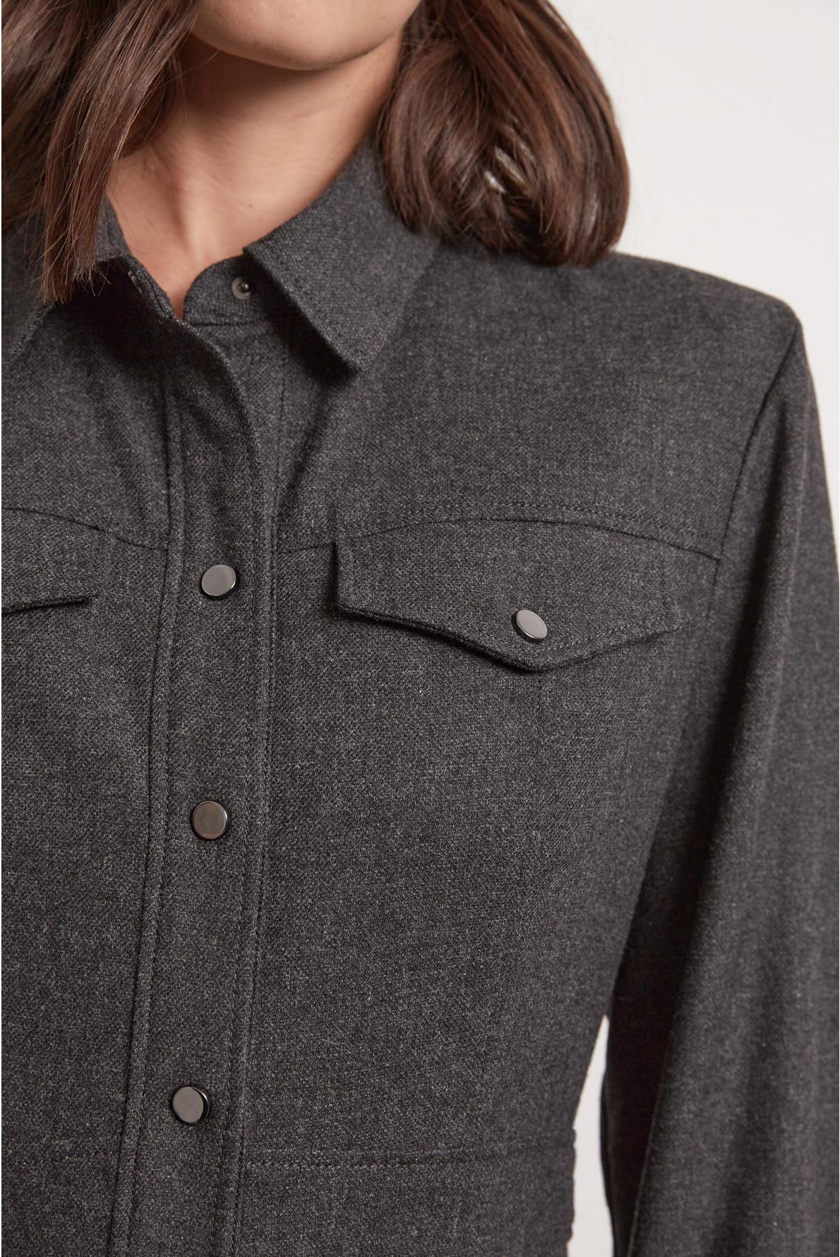 Платье-рубашка из шерсти