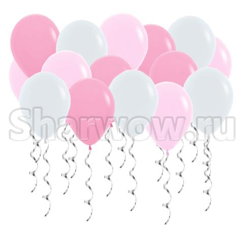 Воздушные шары под потолок Нежно-розовые ассорти