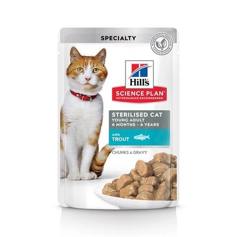 Влажный корм Hill's Science Plan для молодых стерилизованных кошек и кастрированных котов, пауч с форелью в соусе