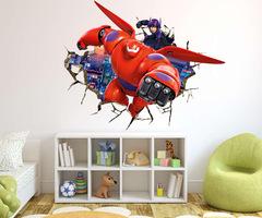 Город героев 3D наклейка робот Беймакс