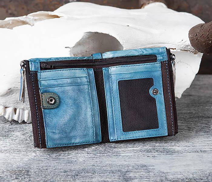 WL302-4 Мужске портмоне из натуральной кожи синего цвета фото 04