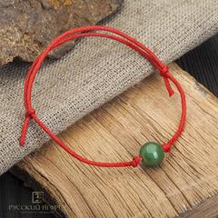 Браслет Красная нить с зеленым нефритом
