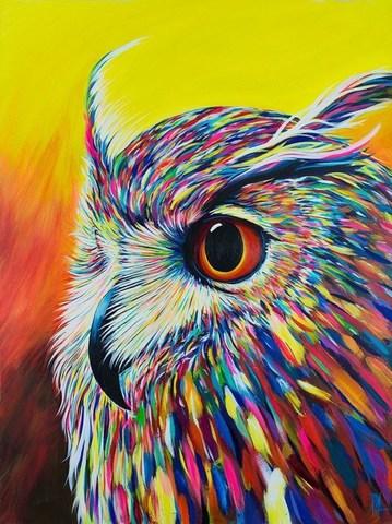 Алмазная Мозаика 5D 40x50 Разноцветная сова на желтом фоне