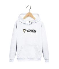 Толстовка белая с капюшоном (худи, кенгуру) и принтом НХЛ Питтсбург Пингвинз (NHL Pittsburgh Penguins) 002