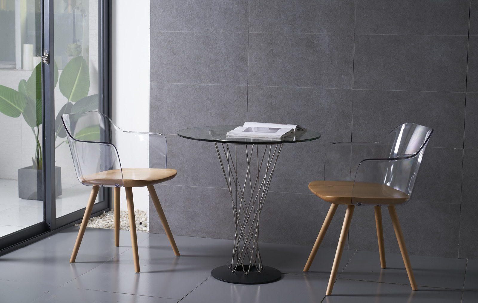 Стол журнальный ESF RT-413 (C) 70 прозрачный и стулья PC-S097