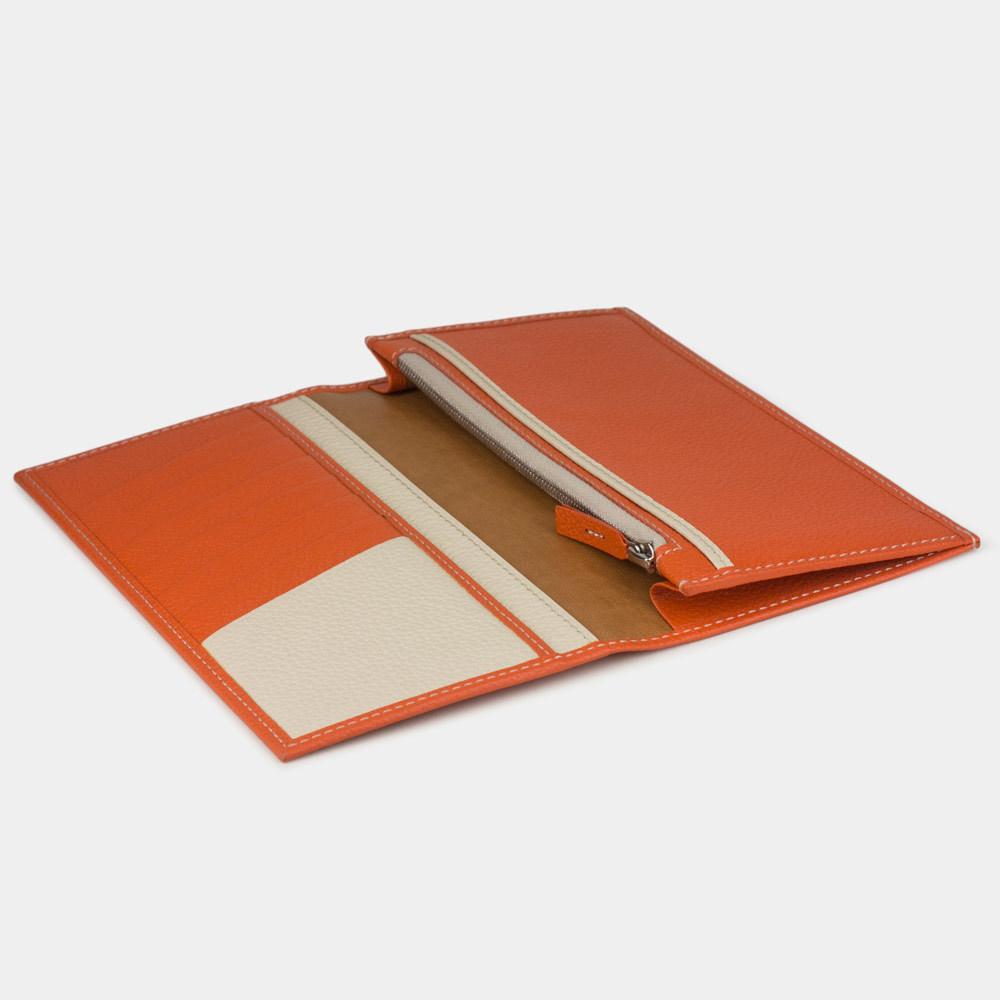 Длинный кошелек Eclair Bicolor из натуральной кожи теленка, оранжевого цвета
