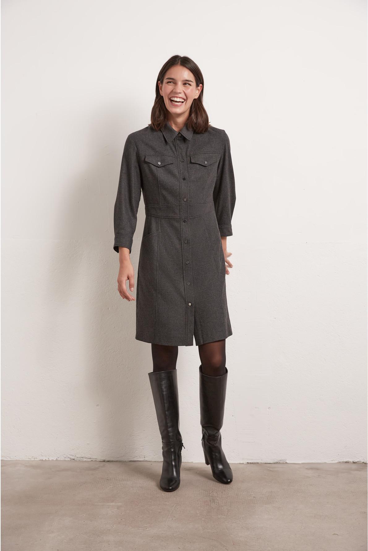 Платье-рубашка шерсти
