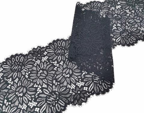 Эластичное кружево, 20 см, черное, с ресничками (Арт: EK-2220), м