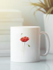 Кружка с изображением Цветы (Маки) белая 006