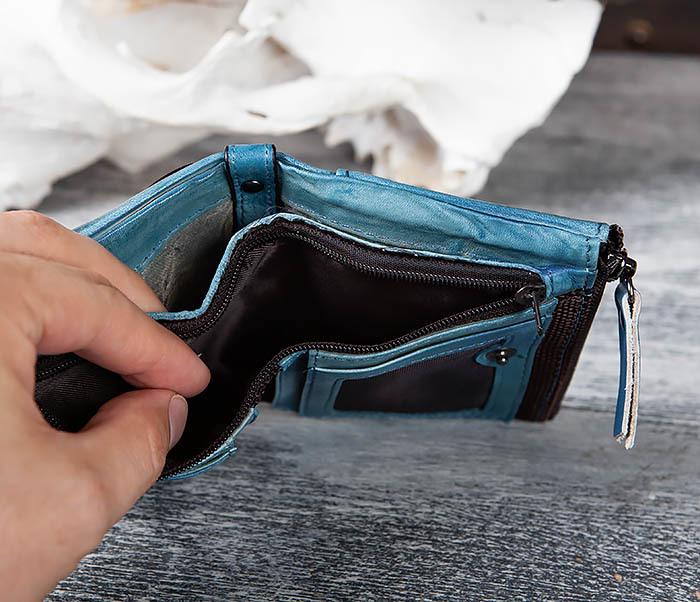 WL302-4 Мужске портмоне из натуральной кожи синего цвета фото 06