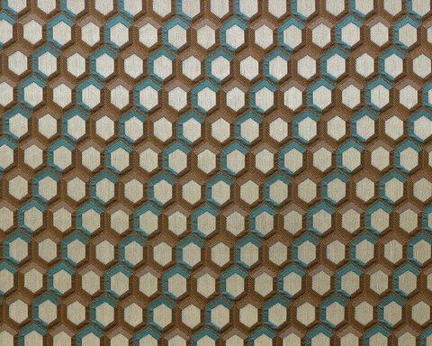 Портьерная ткань в современном стиле Арт бежево-голубой