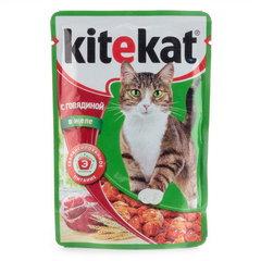 """Корм для кошек Kitekat """"Говядина в желе"""" 85г"""